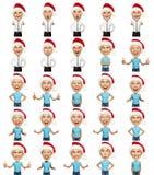 Uppsättning av emotionell jul man och kvinna royaltyfri illustrationer