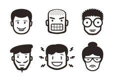 Uppsättning av emotionella pictograms royaltyfri illustrationer