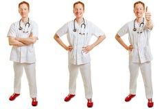Uppsättning av en doktor i olika positioner Arkivbild