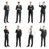 Uppsättning av en ung stilig affärsman som isoleras på vit Affär karriär, jobb, begrepp royaltyfri foto