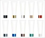 Uppsättning av en verklig färgrik kosmetisk rörvektor Arkivfoton