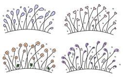 Uppsättning av enkel hand drog blom- gränser Vektor Illustrationer