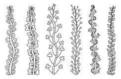 Uppsättning av enkla blom- stammar Stock Illustrationer