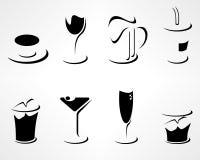 Uppsättning av enkla minsta drinksymboler Arkivbilder