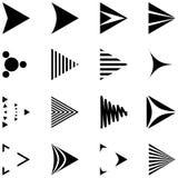 Uppsättning av 16 enkla pilsymboler Arkivfoto