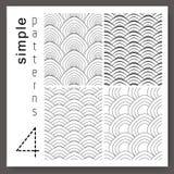 Uppsättning av 4 enkla skalamodeller för retro stil Sömlös blac för vektor vektor illustrationer
