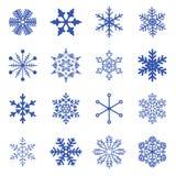 Uppsättning av enkla snöflingor. Royaltyfri Foto