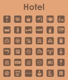 Uppsättning av enkla symboler för hotell Arkivfoton