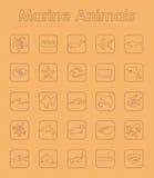 Uppsättning av enkla symboler för marin- djur Royaltyfri Bild