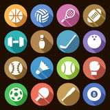 Uppsättning av enkla symboler för rundalägenhet av sportutrustning med skuggaeffekt Vektor Illustrationer