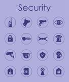 Uppsättning av enkla symboler för säkerhet Royaltyfria Foton
