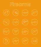 Uppsättning av enkla symboler för skjutvapen Royaltyfria Bilder