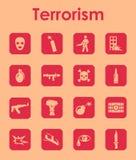 Uppsättning av enkla symboler för terrorism Arkivbild
