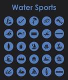 Uppsättning av enkla symboler för vattensportar Royaltyfria Foton