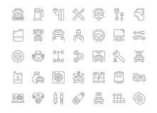 Uppsättning av enkla symboler av garage- och bilservice vektor illustrationer