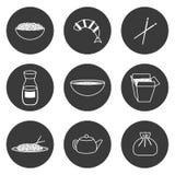 Uppsättning av enkla symboler på kinesiskt kokkonsttema Royaltyfri Fotografi
