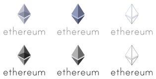 Uppsättning av Ethereum logotyper Arkivbild