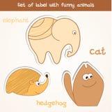 Uppsättning av etiketten med roliga djur. Royaltyfri Bild