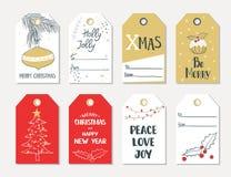 Uppsättning av etiketter för gåva för handattraktionjul royaltyfri illustrationer