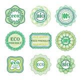 Uppsättning av etiketter för grön teknologi och produktion Royaltyfria Bilder