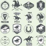 Uppsättning av etiketter för klubba för tappninghästpolo Royaltyfria Bilder