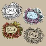 Uppsättning av etiketter för Sale naturvektor Arkivbild