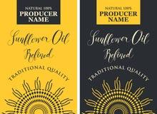 Uppsättning av etiketter för solrosolja med solrosen vektor illustrationer