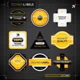 Uppsättning av 9 etiketter i technostil Royaltyfria Bilder