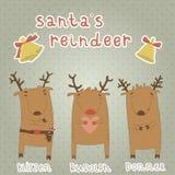 Uppsättning av etiketter med den Santas renen. Blitzen Rudol Royaltyfri Bild
