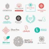 Uppsättning av etiketter och emblem för skönhet, skönhetsmedel, brunnsort och wellness royaltyfri illustrationer
