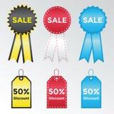 Uppsättning av etiketter och klistermärkear för försäljningar Royaltyfri Foto