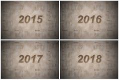 Uppsättning av europén 2015, 2016, 2017 och 2018 år Royaltyfria Bilder