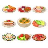 Uppsättning av europeisk lunch för matsymboler Arkivfoto