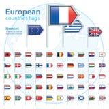 Uppsättning av europeiska flaggor, vektorillustration Fotografering för Bildbyråer