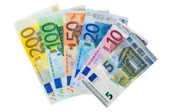 Uppsättning av eurosedlar Arkivfoto