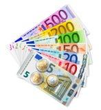 Uppsättning av eurosedlar och mynt Arkivfoton