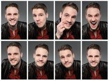 Uppsättning av expresions av den stiliga mannen med skägget royaltyfri fotografi