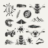 Uppsättning av extrema sportemblem, emblem, etiketter Arkivbild