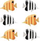 Uppsättning av färg och den svartvita fisken Arkivbilder