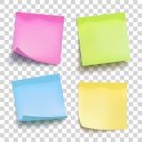 Uppsättning av färgark av anmärkningslegitimationshandlingar fyra klibbiga anmärkningar vektor stock illustrationer