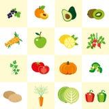 Uppsättning av färgbilder av grönsaker och frukt i en plan stil Arkivfoton