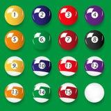 Uppsättning av 16 färgbiljardbollar Royaltyfria Bilder