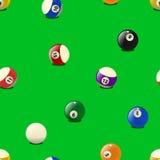 Uppsättning av färgbiljardbollar, sömlös modell royaltyfri illustrationer