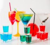 Uppsättning av färgdrinken, olika former av exponeringsglas, drinkuppsättning Royaltyfri Foto