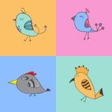 Uppsättning av färgfåglar vektor illustrationer