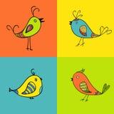 Uppsättning av färgfåglar för design stock illustrationer
