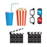 Uppsättning av färgfilmobjekt stock illustrationer