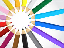 Uppsättning av färgpennor Arkivfoto