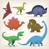 Uppsättning av färgrik dinosaurus Fotografering för Bildbyråer