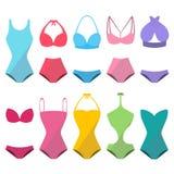 Uppsättning av färgrik härlig stilfull swimwear för sommar royaltyfri illustrationer